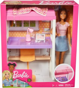 Barbie set dormitor cu papusa par saten