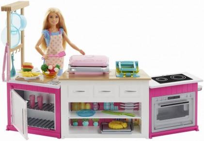 Papusa Barbie cu set de joaca bucatarie