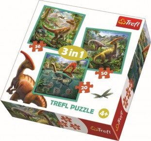 Puzzle Lumea extraordinara a dinozaurilor Trefl 3 in 1