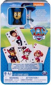 Patrula catelusilor carti de joc jumbo cu figurina in cutie metalica