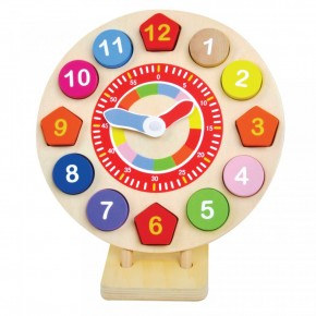 Ceas din lemn forme si numere, 14 piese