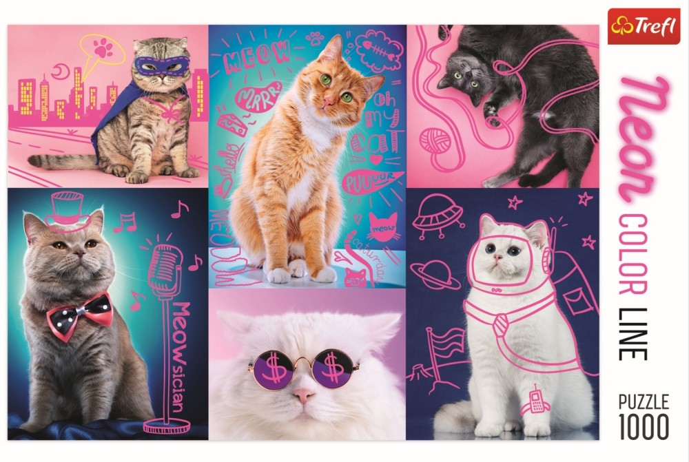 Puzzle Trfel 1000 Super pisici neon