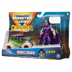 Monster Jam Creatures: macheta Grave Digger si figurina Grim
