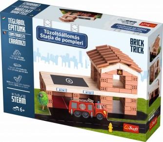 Set de constructie Brick Trick - Statia de pompieri din caramidute ceramice