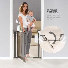 Poarta de siguranta Reer DesignLine Puristic, presiune, 76-96 cm, metal + plexiglas gri, 46031