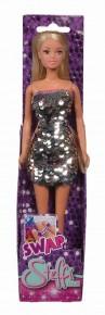 Papusa Steffi cu rochie cu paiete argintii