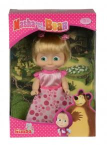 Papusica Masha cu rochita roz cu buline