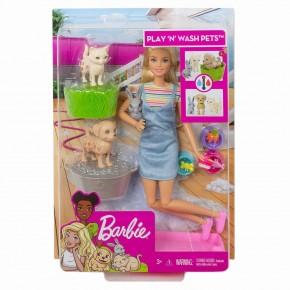 Barbie family set de joaca papusa cu animalute