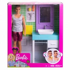 Papusa Barbie Ken cu mobilier si accesorii pentru baie