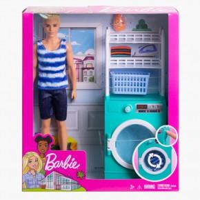 Papusa Barbie Ken cu mobilier si accesorii pentru spalatorie