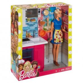 Barbie set bucatarie cu accesorii si papusa