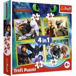 Puzzle Trefl 4in1 Cum sa iti distrezi Dragonul 3