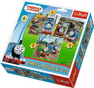 Puzzle Trefl 3in1 - Locomotiva Thomas in actiune
