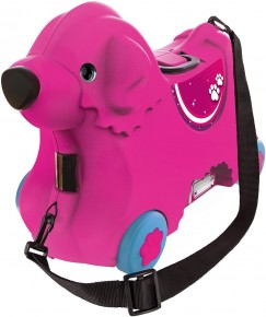 Big Troller cu roti catelus roz capacitate 15L