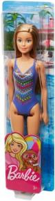Papusa Barbie blonda cu costum de baie cu model multicolor