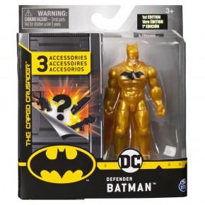 Figurina Batman 10 cm cu costum auriu 3 accesorii surpriza