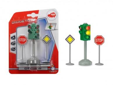 Set semafor si semne de circulatie cu lumini 12 cm