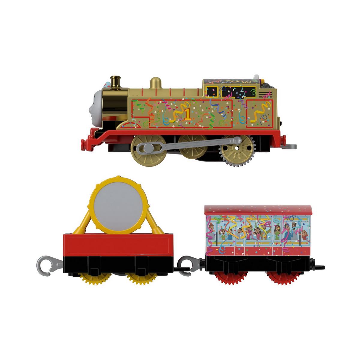 Thomas Locomotiva Golden Thomas motorizata cu 2 vagoane si accesorii