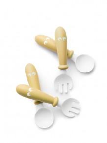 Set lingurite si furculite pentru bebelusi (4 bucati) - Powder Yellow