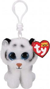 Plus breloc TY 8.5 cm Boss Tigru alb