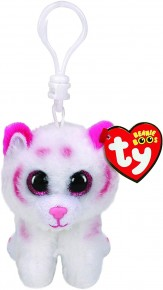 Plus breloc TY 8.5 cm Boss Tigru alb cu roz