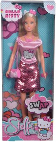 Papusa Steffi cu fustita cu paiete Hello Kitty