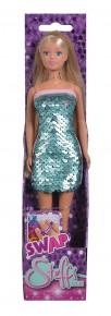 Papusa Steffi cu rochie cu paiete albastru deschis