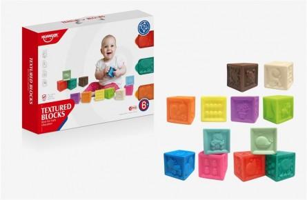 Set 12 cuburi soft cu diferite forme si texturi