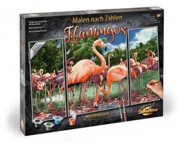 Kit Pictura pe numere Schipper Flamingo, 3 tablouri