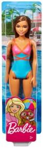 Papusa Barbie satena cu costum de baie rosu-albastru