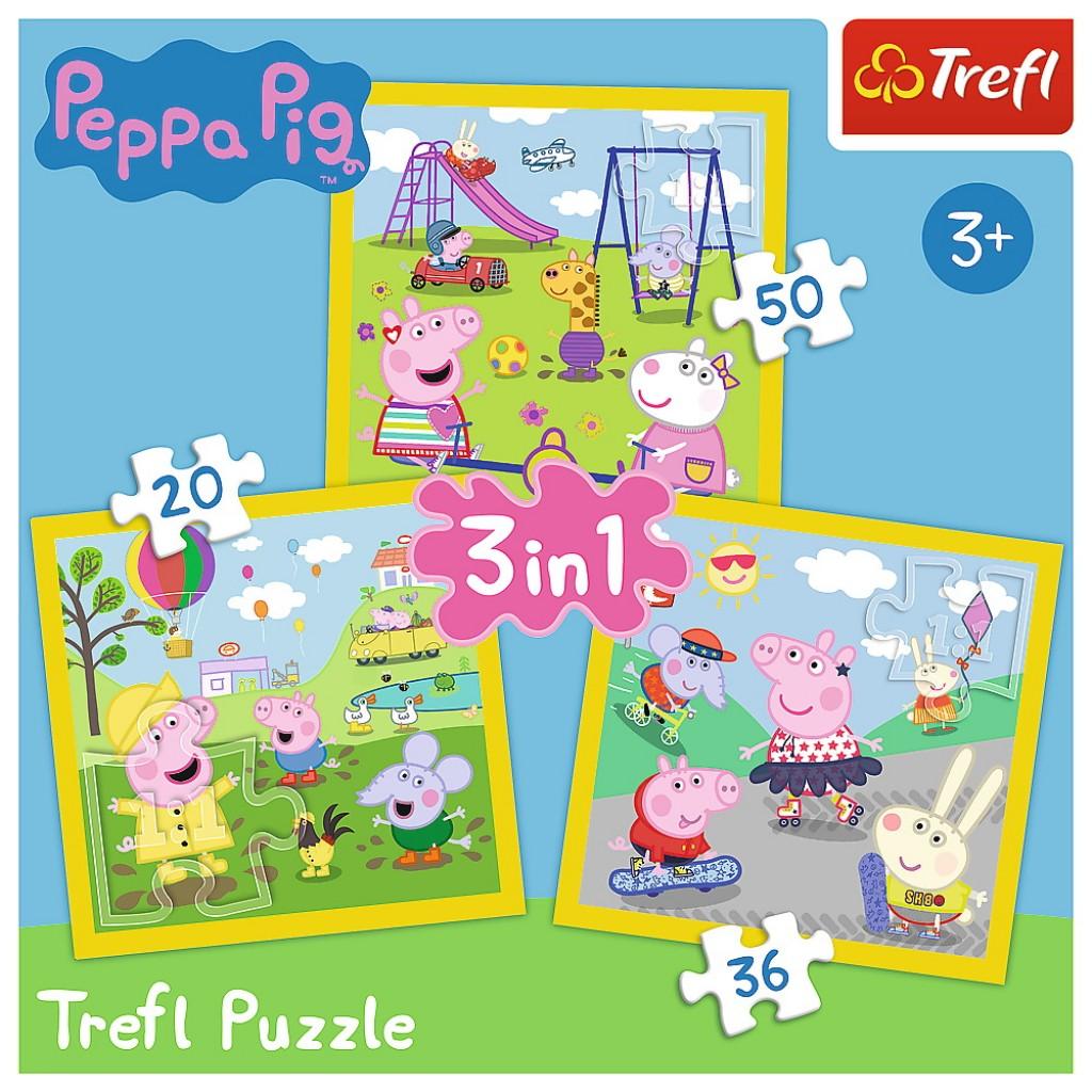 Puzzle Trefl 3in1 Peppa Pig o zi aniversara