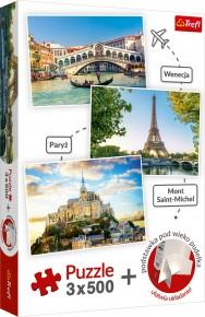 Set Puzzle Trefl 3x500 Venetia Paris Mont Saint-Michel