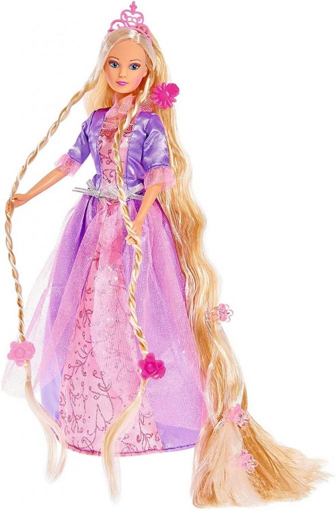 Papusa Steffi Printesa cu par foarte lung si rochita mov