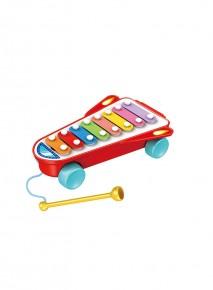 Xilofon racheta muzicala cu roti si ciocanel
